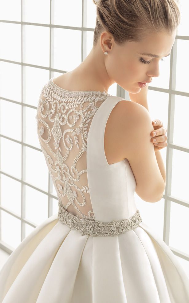 Illusion back wedding dress with crystal belt | Rosa Clara 2016 Bridal Collection via @BelleMagazine