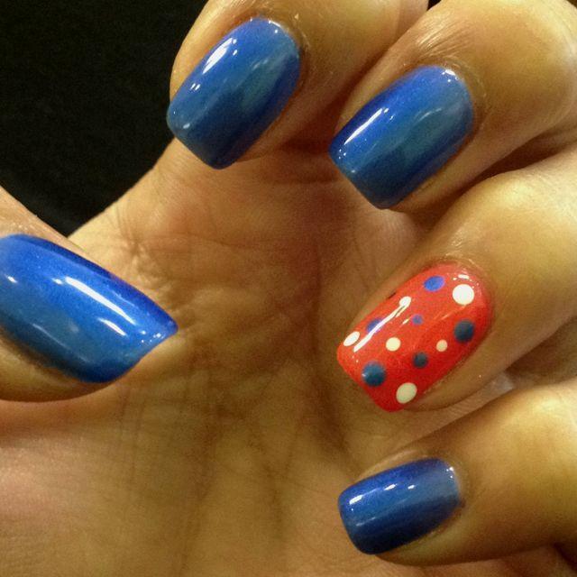 Orange and blue nail design, polka dotNails Art, Hair Nails Beautiful, Clh Nails, Hair Makeup Nails, Florida Gators Nails, Knicks Nails, Blue And Orange Nails, Football Nails, Blue Nails