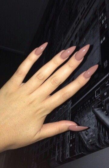 Mocha Brown Stiletto Acrylic Nails