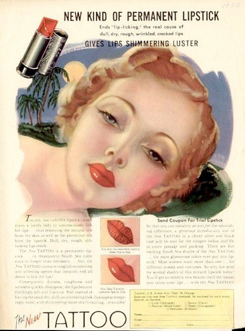 Permanent Lipstick advert from 1941. Gives lips shimmering luster.