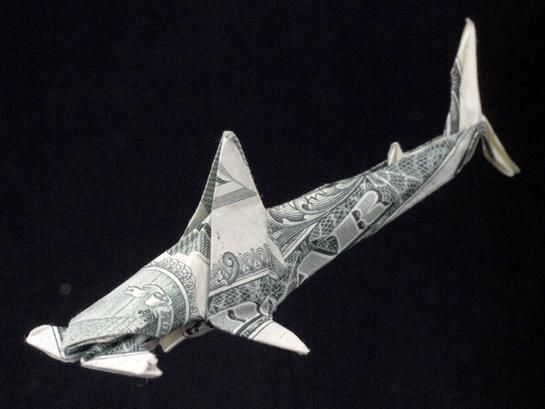 Hammerhead Shark from 1 dollar bill: Hammerhead Sharks, Folding Paper, Origami Artworks, Money Origami, Paper Art, Sharks Origami, Money Art, Bday Parties, Origami Dollar