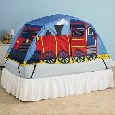 Personalized Train Bed Tent for boys in light blue with red train - yellow and dark : bed tents for kids - memphite.com