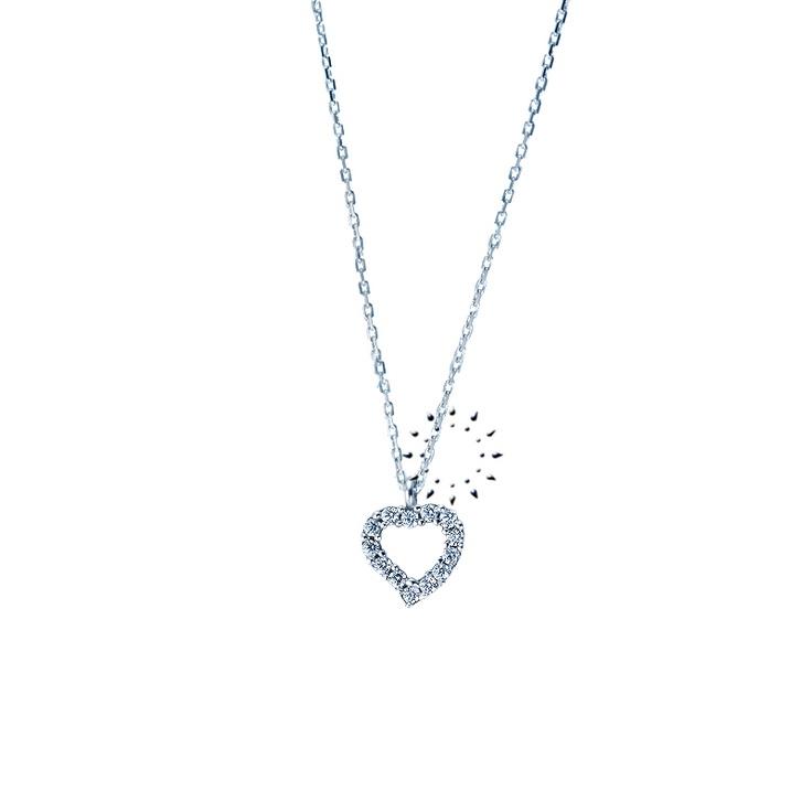 Κολιέ καρδιά 14K Λευκόχρυσο με Ζιργκόν της FaCaD'Oro  295€  http://www.kosmima.gr/product_info.php?products_id=14608