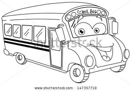 Outlined School Bus Cartoon Stock Vector 147357719 : Shutterstock