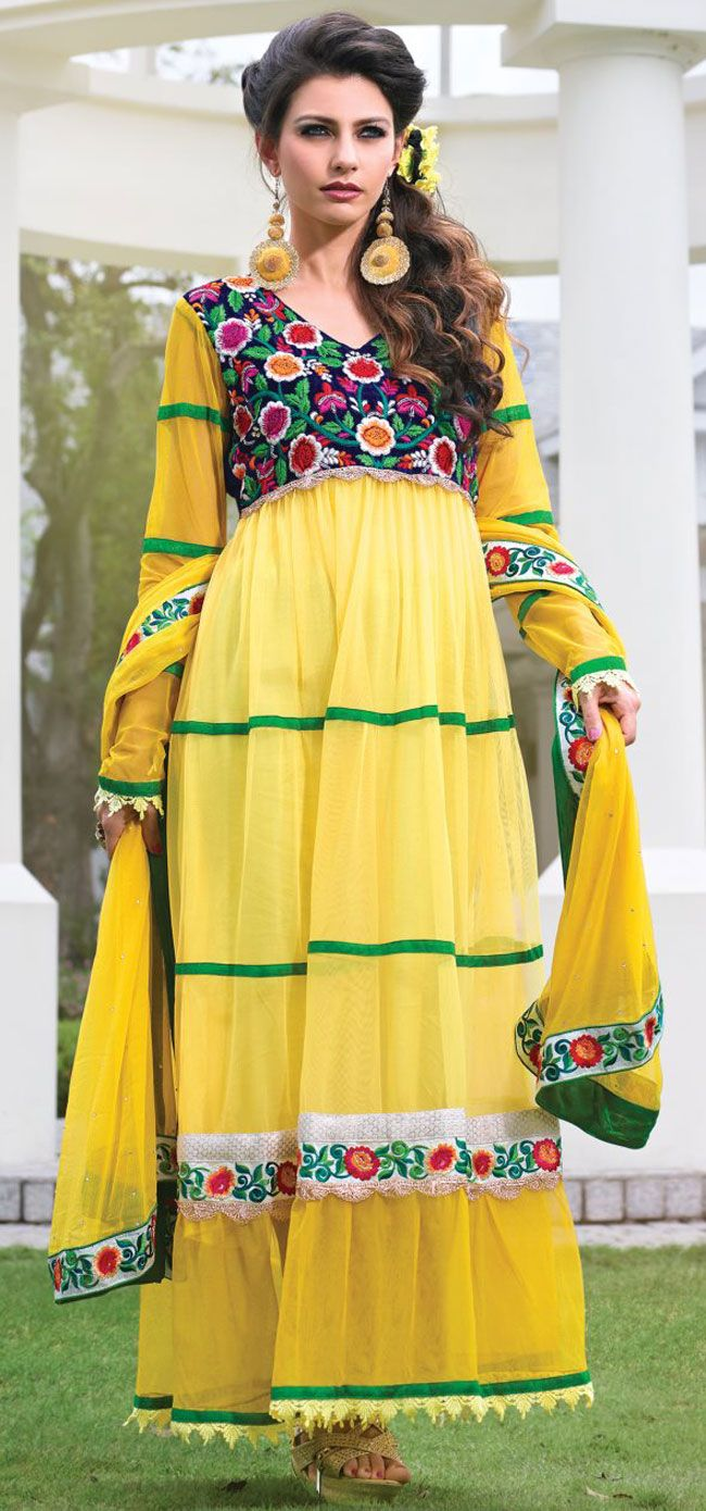 Yellow Net Designer Salwar Kameez With Dupatta - IG8089 USD $ 107.96