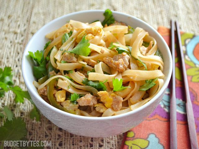 Spicy Pork Pad Thai - Budget Bytes