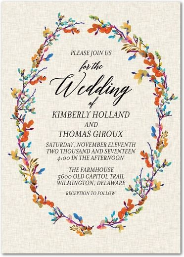 Brilliantly Wreathed - Signature White Wedding Invitations - Picturebook - Caramel - Brown : Front