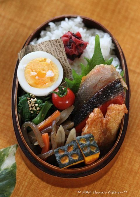 Typical Japanese Bento BoxLunch (Grilled Salmon, Fried Surimi Fish, Komatsuna Spinach Sesame, Pampkin, Rice with Umeboshi Picked Plum)|ザ・弁当。おいしそう