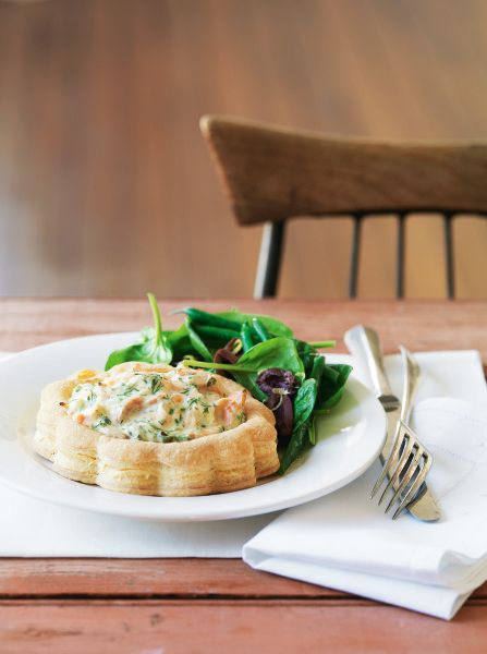 Salmon, Dill & Caper Vol-au-Vents with Spring Salad. A great pastry with a creamy salmon filling. #Woolworths #recipe #seafood  http://www.woolworths.com.au/wps/wcm/connect/Website/Woolworths/FreshFoodIdeas/Recipes/Recipes-Content/Salmon-dill---caper-vol-au-vents-with-spring-salad