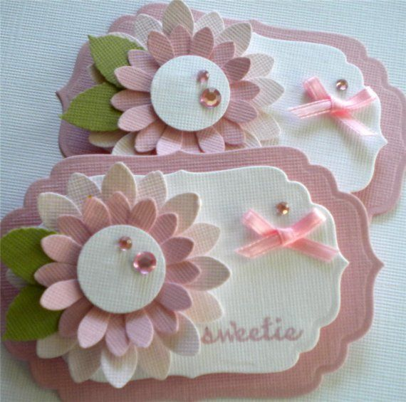 Soft Sweet Pink Flower Tags. Set of 2 by KindrasCreations on Etsy