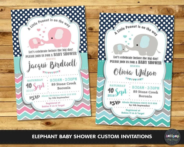 ELEPHANT BABY SHOWER PARTY INVITATION INVITE PERSONALISED BOY GIRL BOUTIQUE #CUSTOMINVITATION #BabyShower