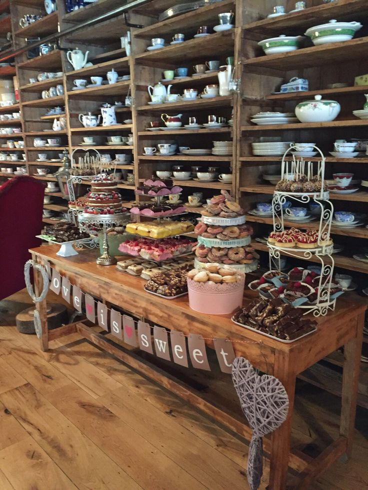 Another view of the fabulous wedding dessert table in the barn in Mount Druid, Castletown Geoghegan, Co. Westmeath, Ireland.