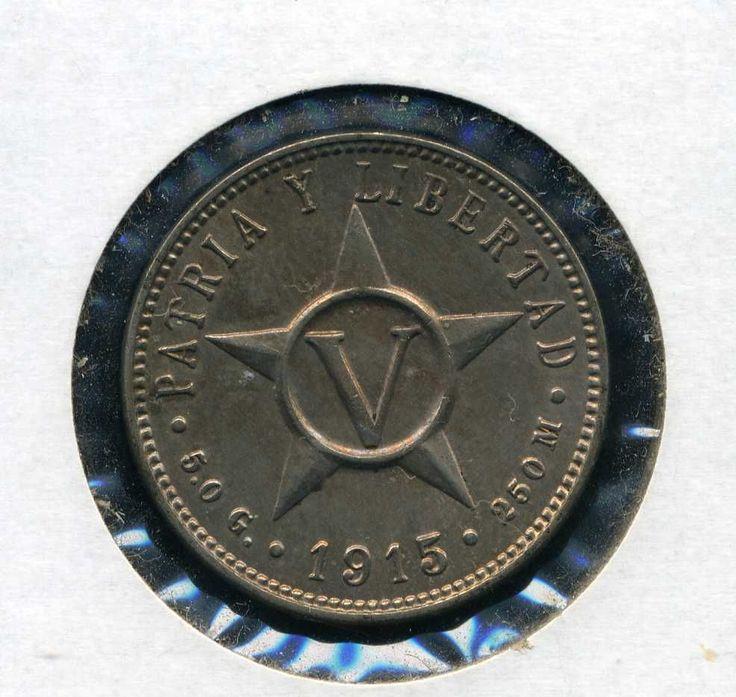 1915 Republic De Cuba 5 Centavos Cinco Five Cents Cuban Nickel Patria Y Libertad