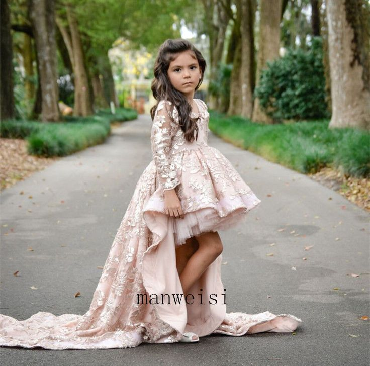 Pink Flower Girls Dresses Lace Bridesmaid Prom Ball Gown Train Custom #Dress