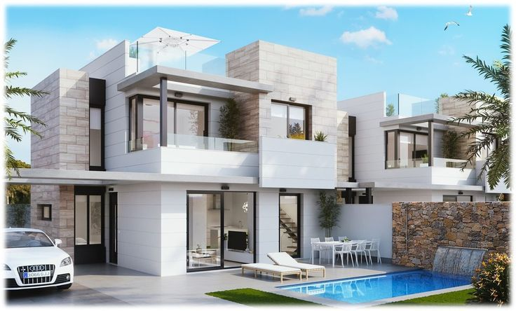 <p>  These lovely new build villas are 3 Bedroom, 3 Bathrooms, prices start from 296,000€ with a basement and a private swimming pool. They consist of three floors, off road parking and a large Solarium which is 49m2. There is 1 Bedroom, Bathroom, Living room and kitchen downstairs along with a large private swimming pool and outdoor area. The second floor has 2 Bedrooms, 2 Bathrooms and a balcony coming of one of the bedrooms. This property is in a great area and for a great price too!...