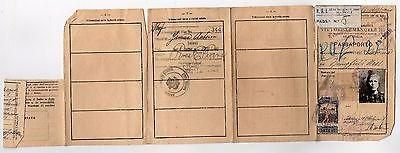 NAPLES ITALY ANTIQUE CANCELLED ITALIAN PASSPORT DOCUMENT W/ LEATHER WALLET 1920s