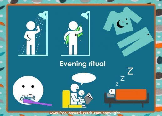 Daily rhythm card bedtime ritual. Daily rythm charts can be useful for children with attention deficit hyperactivity disorder (ADHD) or autism disorders.