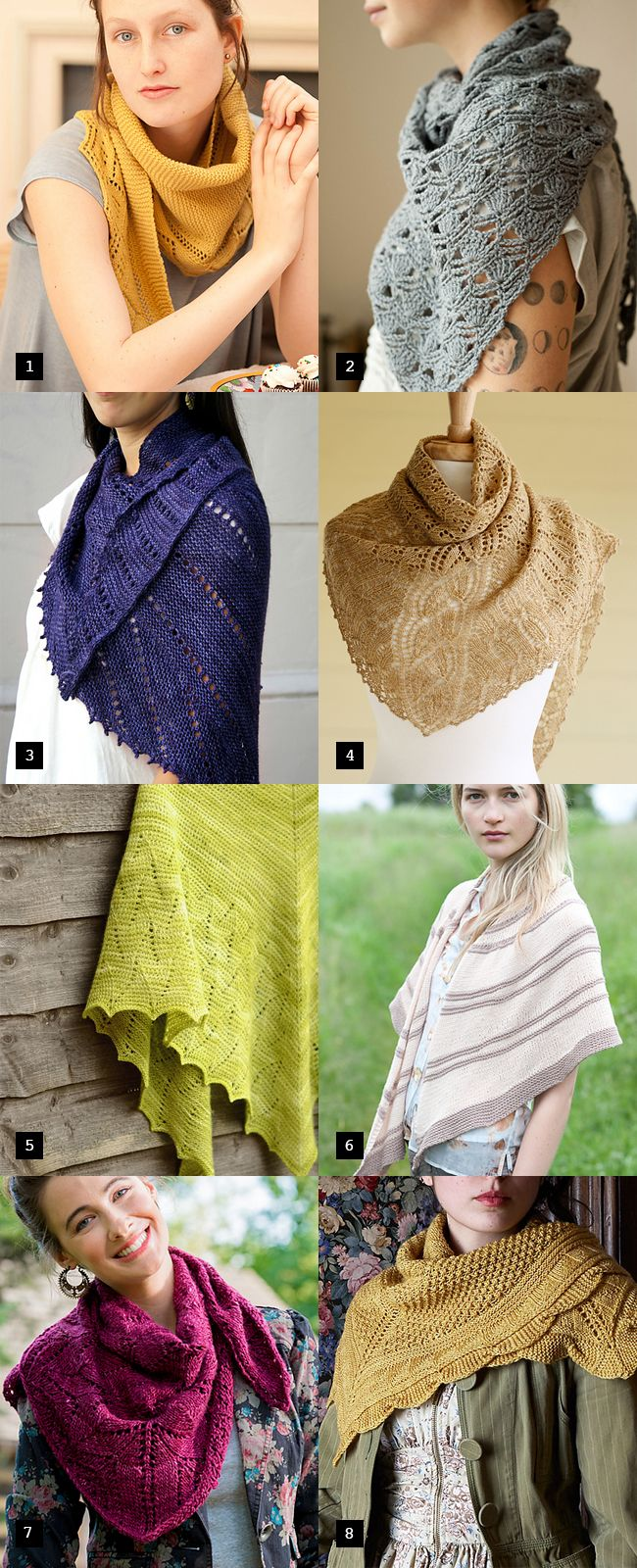 Sweet spring shawls: Several with garter stitch!