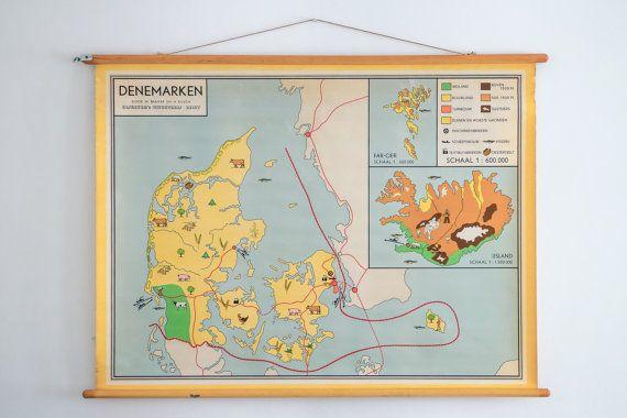 Original Vintage Dutch Map of Denmark, Iceland and Faroe islands