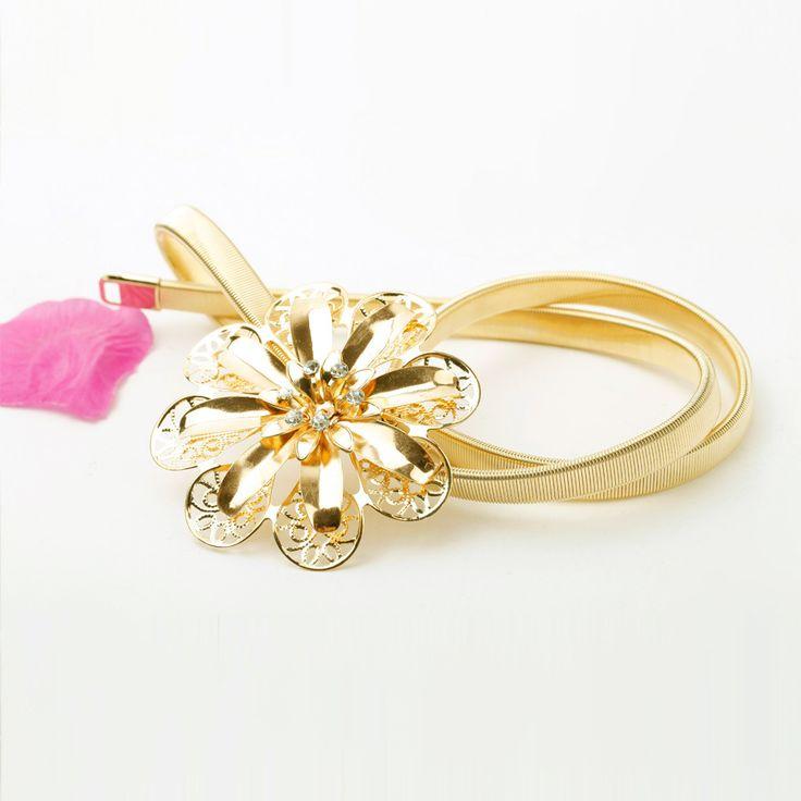 Женщины ремень золото металлические ремни для женщины горный хрусталь цветочный полые дизайнер ремни элегантный эластичный ременькупить в магазине Five Star Outlet наAliExpress