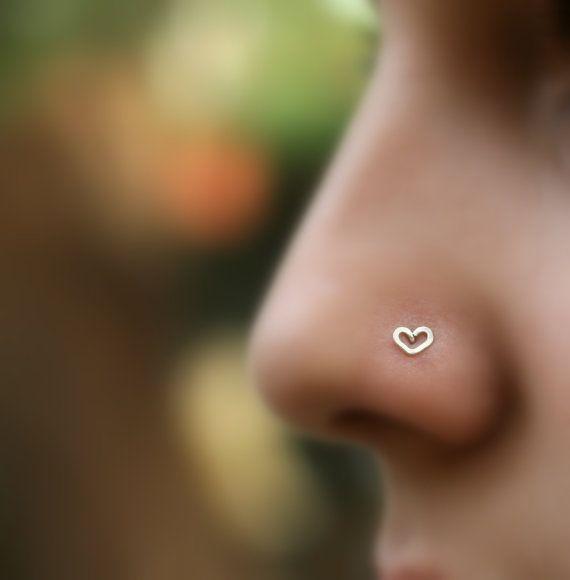 Valentine Heart Nose Stud Sterling Silver by Holylandstreasures, $7.95... cute!