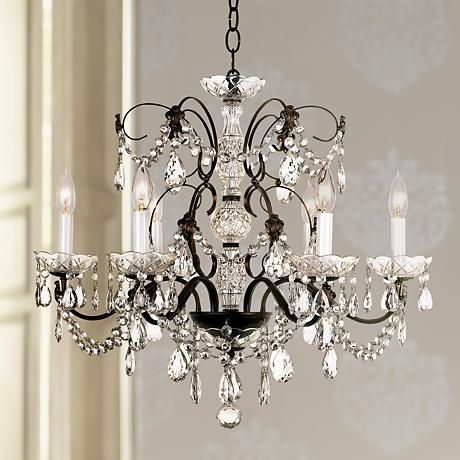 A beautifully detailed crystal chandelier designed elegantly for Lamps Plus by Schonbek.