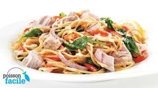 Spaghettis au thon à l'italienne   Recettes IGA   Pâtes, Poisson, Recette rapide