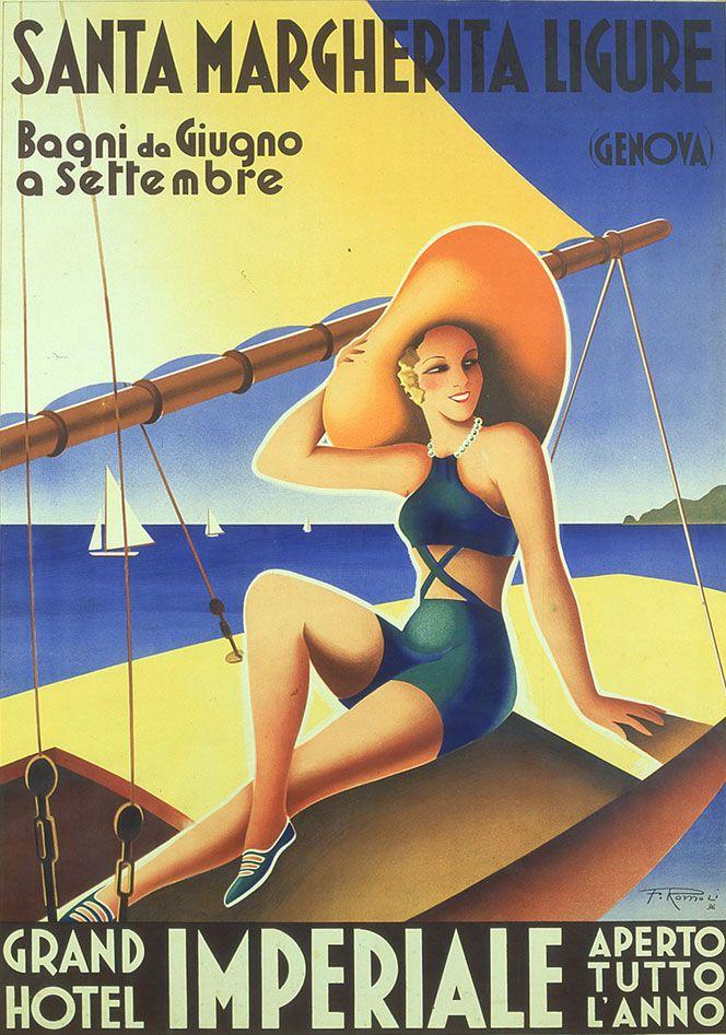 Vintage Italian Posters - Italy. Filippo Romoli's posters. www.italianways.com/filippo-romoli-and-the-venuses-of-liguria/