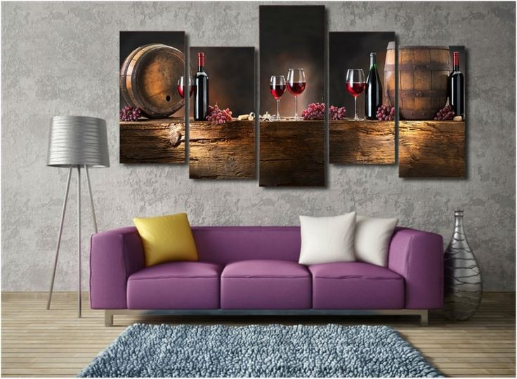 5 Panels HD Printed Bowie Red Wine Painting Canvas Print Room decor print poster Picture Canvas P0133