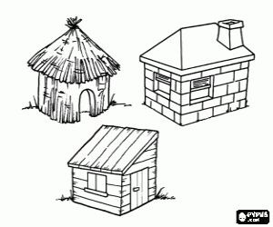 Three Little Pigs Houses Coloring Pages