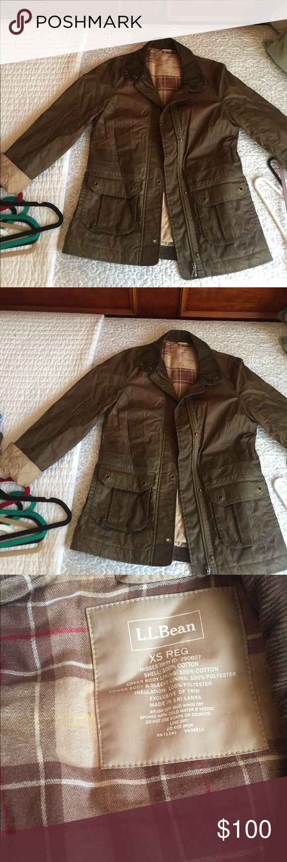 LL Bean waxed jacket LL Bean waxed jacket. XS, but runs large would fit a small as well. Only worn once or twice. Nice quilted inside, very warm and classic. L.L. Bean Jackets & Coats Utility Jackets