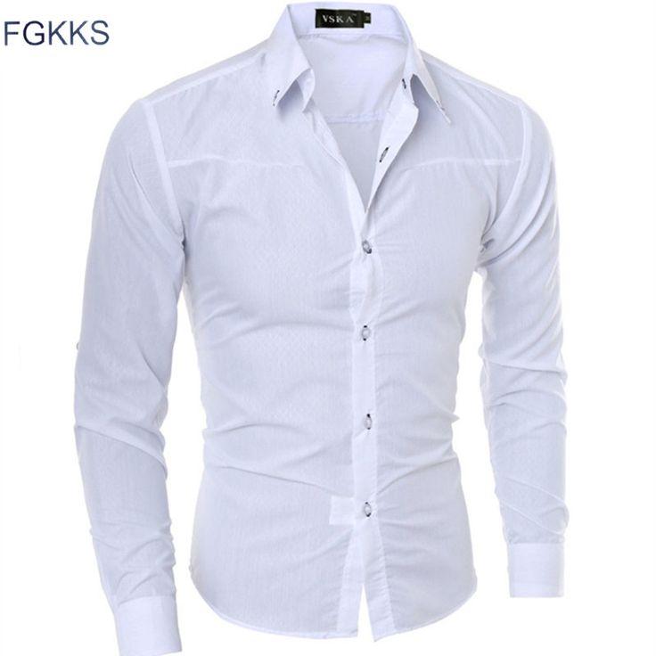 Vendita calda 2017 primavera casuale camicia degli uomini di modo manica lunga tuxedo uomini camicia di colore solido camicia maschile di marca-clothing taglia m-5xl