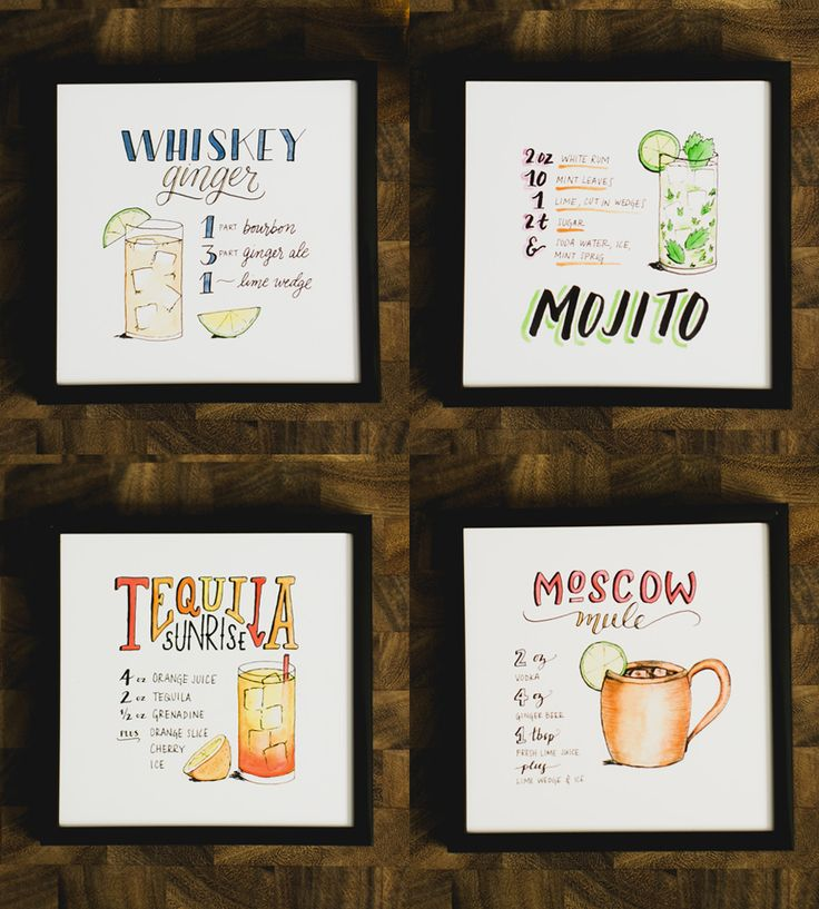 Lettered Libations Cocktail Recipe Art Prints, Set of 3 | Dress up your bar cart, kitchen or studio space with a trio of... | Posters
