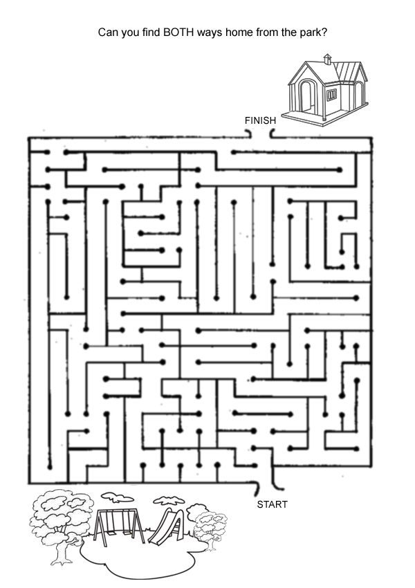 Hard Find The Way Home Maze activity page. Plus more than 15 hard free online kids games suitable for kids aged 10-12.