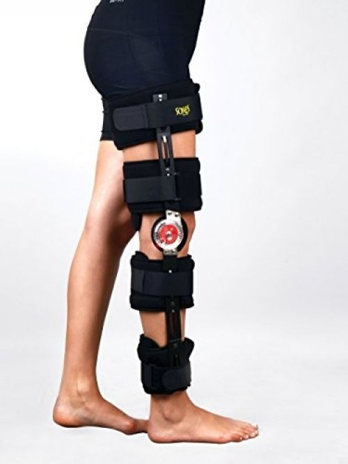 Hinged Knee Brace By Soles -Adjustable Injury Stabilization After ACL, PCL, MCL…