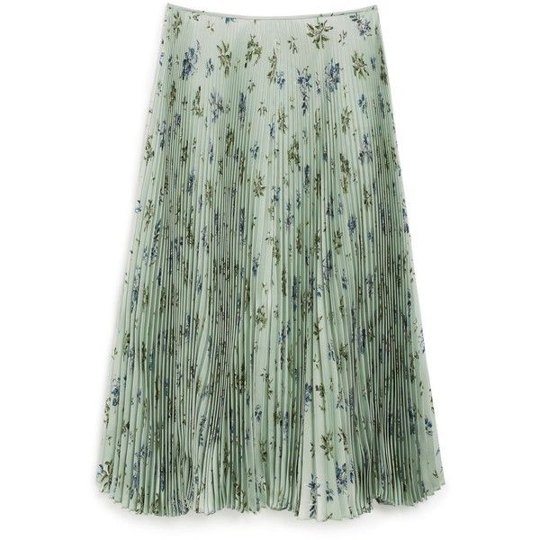 Mulberry Susannah Skirt ($1,575) ❤ liked on Polyvore featuring skirts, mint, pleated flare skirt, silk pleated skirt, knee length pleated skirt, green silk skirt and mint skirts
