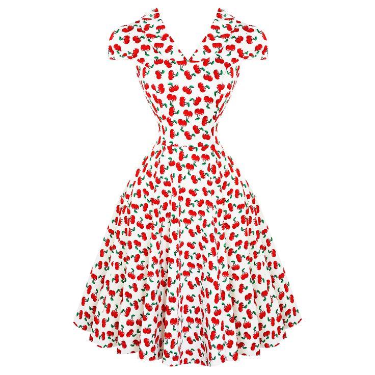 Hearts & Roses London Cherry Print 1950s Dress | Dresses | Starlet Vintage