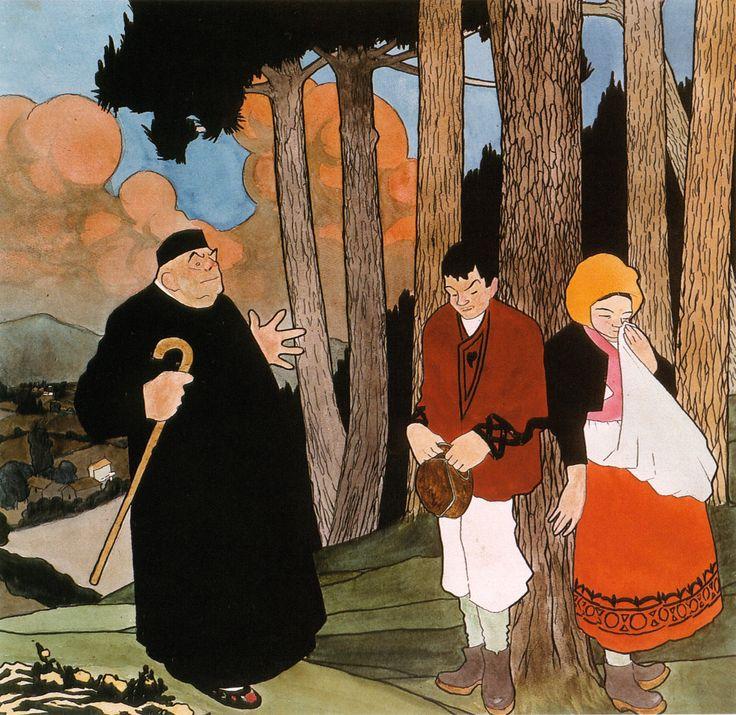 Castelao:¡Hai que casarse!, 1912. Acuarela sobre papel. 39 x 40 cm. Colección particular