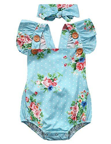 Light Blue Floral Romper | Trendy Cheap Baby Clothes Online