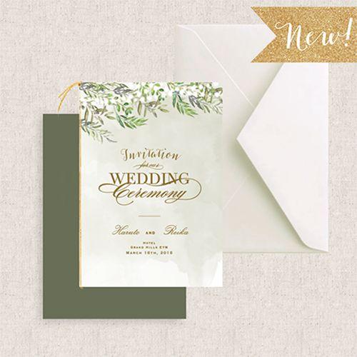 インスタでプレ花嫁さまに大人気のオリジナル招待状を販売しています。夫婦の木とも呼ばれるオリーブモチーフが魅力の海外風デザイン二つ折り招待状をオリジナルで作成してみませんか。