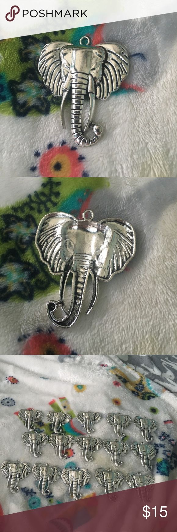 Silver platted elephant pendents These silver elephant pendants can be used to put an elegant touch on anything. You can make a gorgeous necklace with these pendants, add decoration on your key ring, additives on shower curtain hangers, passing out to friends. Free gifts to costumers; the possibilities are endless. LISTING IS THE PRICE OF 15 UNITS. If you wish to buy more or fewer comment below and I will make a separate listing for you. Jewelry Necklaces