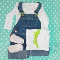 Perfect baby shower gift set for boys - Denim dungarees, babygro with crocodile felt embellishment and striped shoes