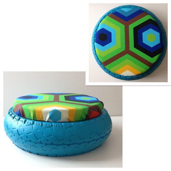 affordable pneu recycl en pouf par sur etsy with pouf avec pneu et corde. Black Bedroom Furniture Sets. Home Design Ideas