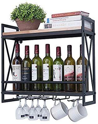 Amazon Com Industrial Wine Racks Wall Mounted With 5 Stem Glass