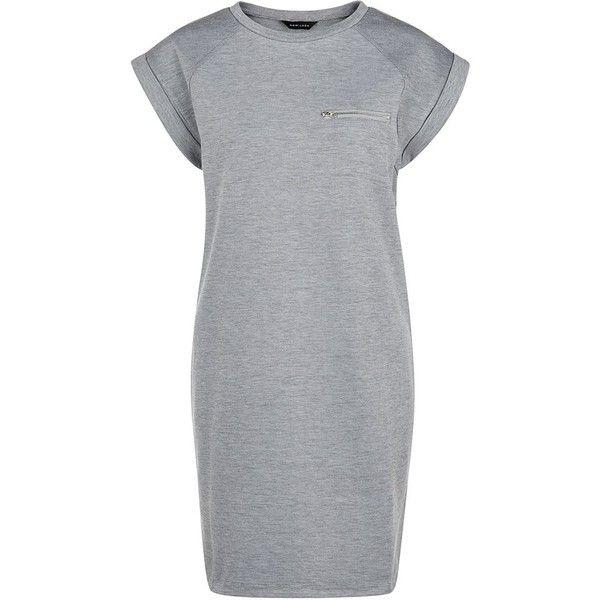 Grey Zip Pocket T-Shirt Dress found on Polyvore featuring dresses, grey, sport dresses, gray dress, shirt-dress, tshirt dress and gray t shirt dress