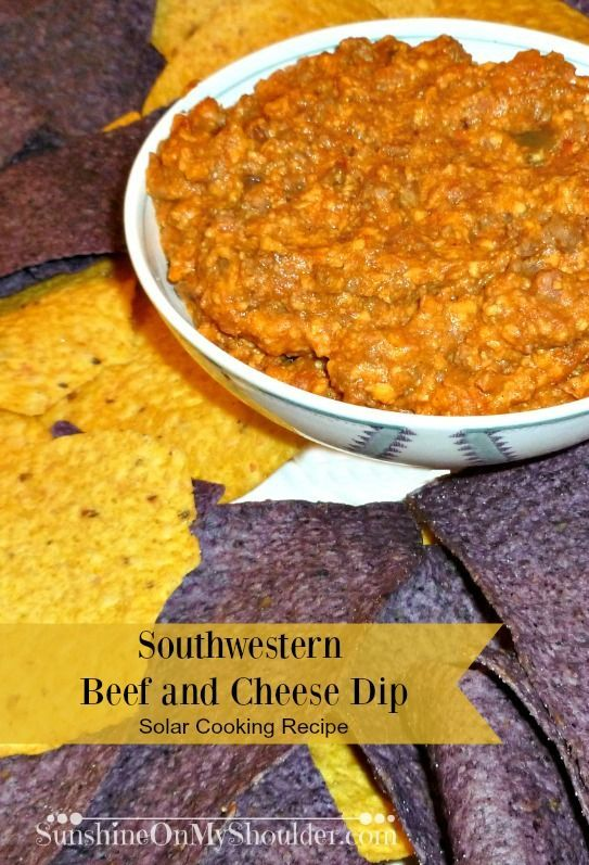 Southwestern Beef and Cheese Dip cooked in a solar oven.