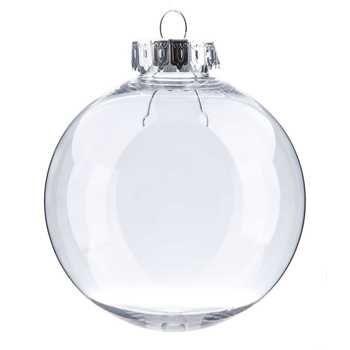 "3 1/4"" Clear Plastic Ornament Ball"