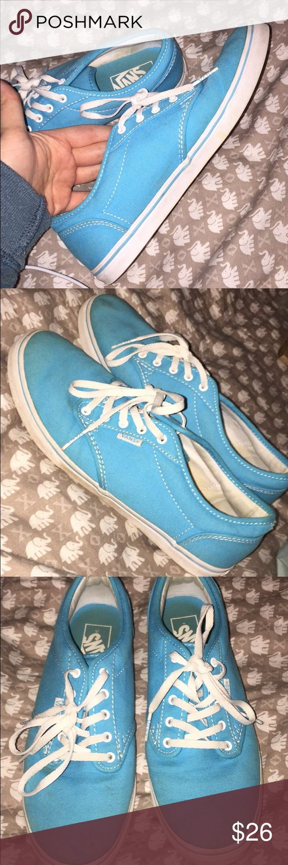 Women's Vans Blue  with white women's vans. Size 8.5. Only actually wore them a few times because the color wasn't my style.. so they aren't worn out or anything at all.. but do have some dirt spots on them. Actually probably would wash right off😂 I also have all black ones if anyone's interested😊 Just make an offer! Vans Shoes Sneakers