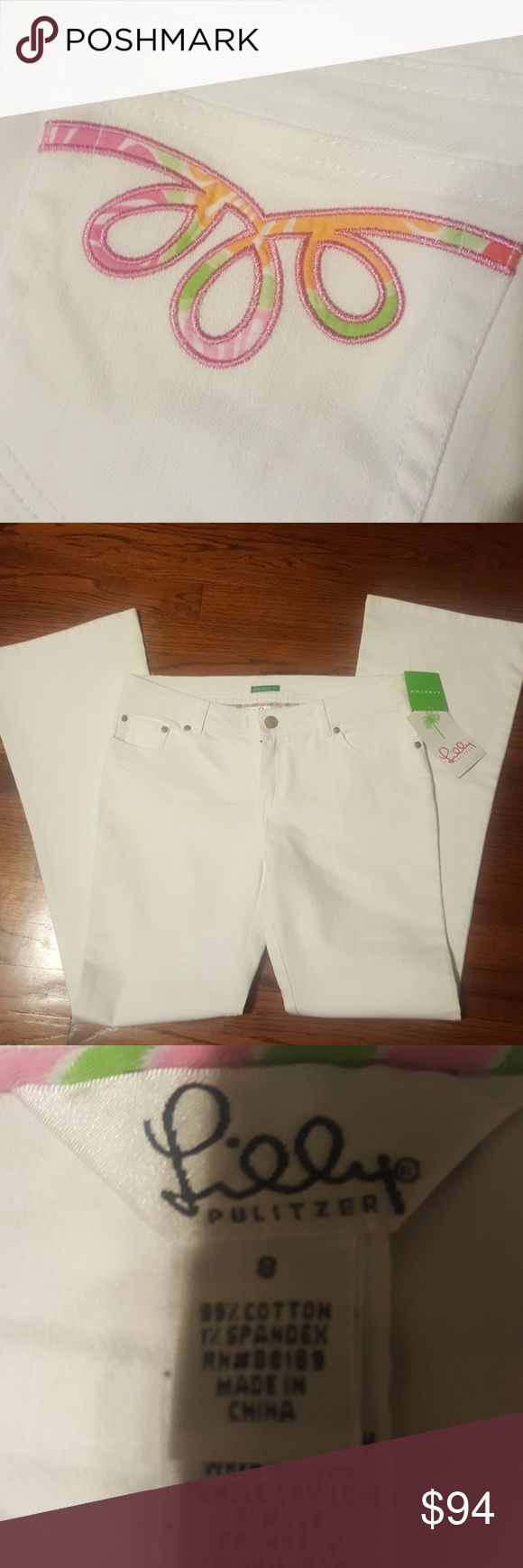 """Lilly Pulitizer white stretch jeans White palm fit jeans.  Style- Supreme Jean Applique .  Approximate Inseam-31""""- waist 30"""" Lilly Pulitzer Jeans"""
