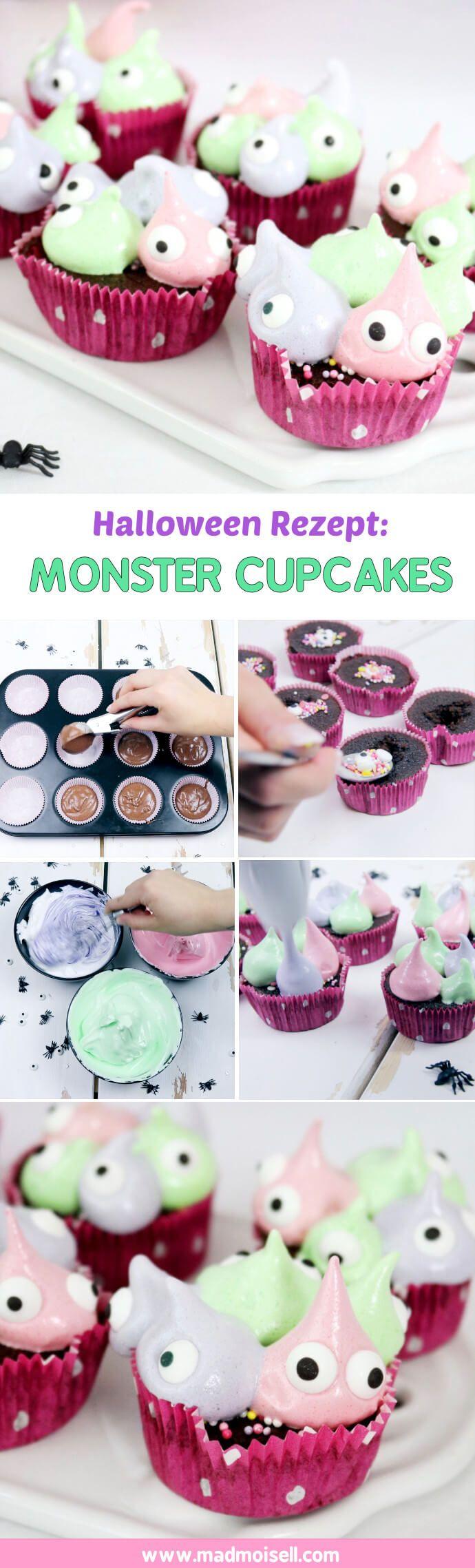 Monster Cupcakes backen: Einfaches Muffin Rezept für Halloween. Die Cupcakes sind noch schneller gemacht, als die Torte und sehen zuuuuckersüß aus, findet ihr auch? Ich liebe die Idee mit dem Marshmallow Frosting und den Augen total und stelle mir die Monster Cupcakes super toll auf einer Halloween Party vor!